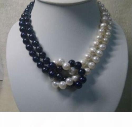 Design sorprendente collana di perle Akoya nero 2 fila 8-9 mm bianco