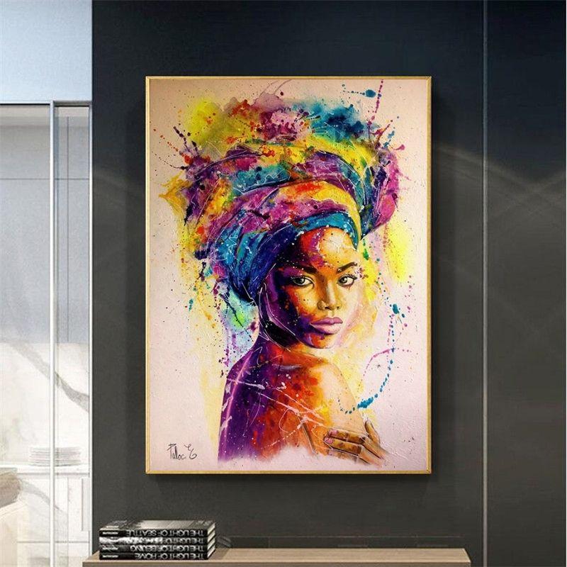 Africa Donne muro Poster e stampa su tela astratta Ragazze ritratti olio scandinavo Immagine di Soggiorno Cuadro