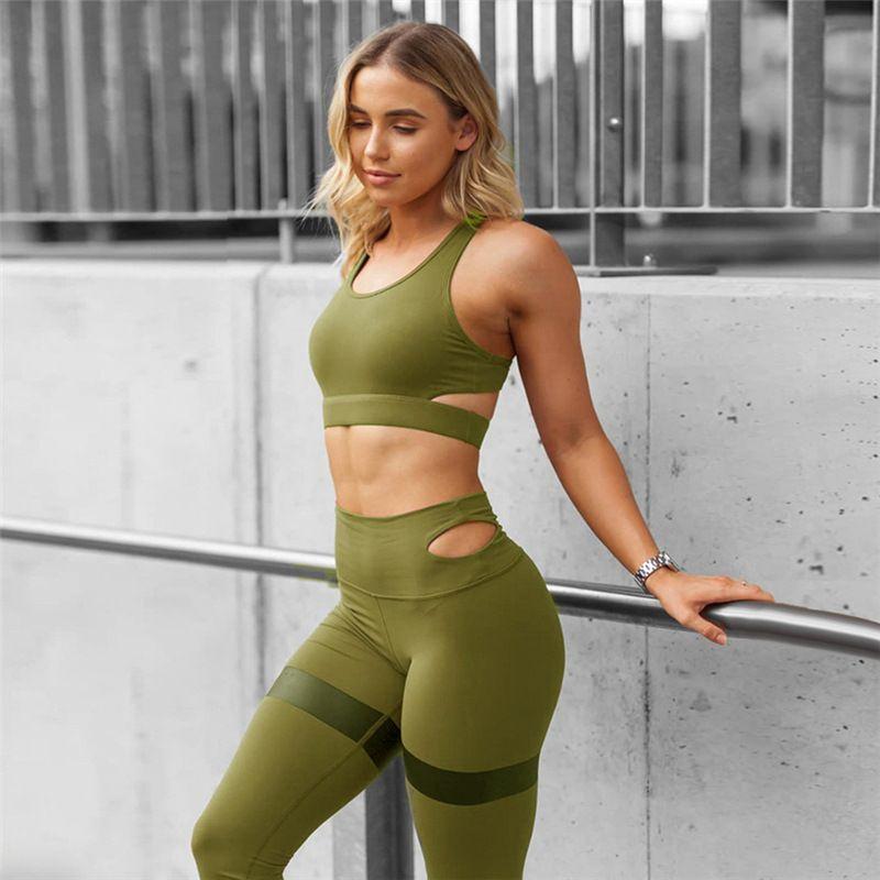 Yoga Kıyafetler Spor Giyim Spor Takım Elbise 2 Parça Kadın Set Egzersiz Spor Sportwear Seksi Tayt Tank Top Sutyen Koşu Tayt Tulum