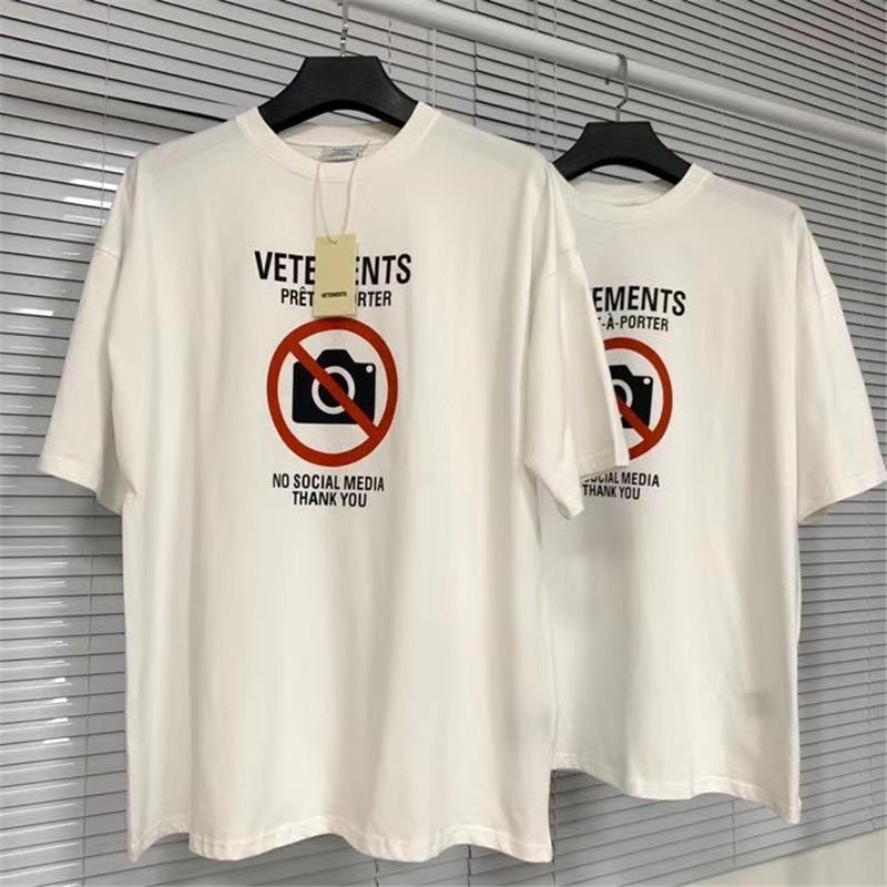US 2020 vétements interdit de prendre des photos d'été nouvelles lettres imprimées hommes en vrac à manches courtes T-shirt de la marque marée streetwear