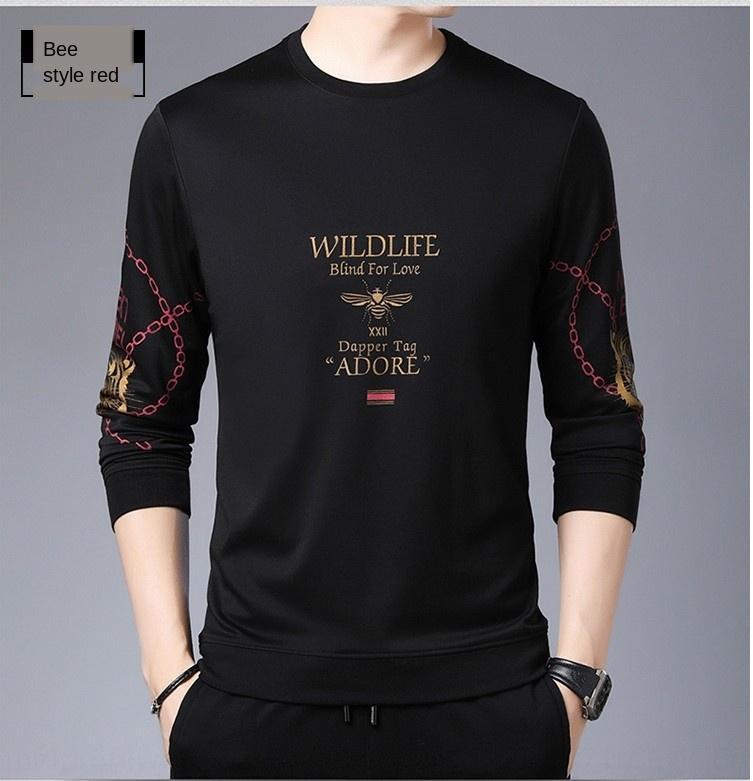 Qwxx7 Primavera e Outono Top t- forma de base em torno do pescoço camisola camisa de manga dos homens abelha top moda casual longa dos homens camisola T-shirt