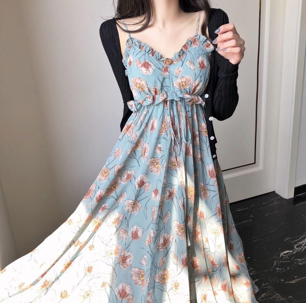 EWnM6 Q0716 thin floral dress gentle slim knitted sling suspender skirt sling Suspender skirt sun-proof cardigan