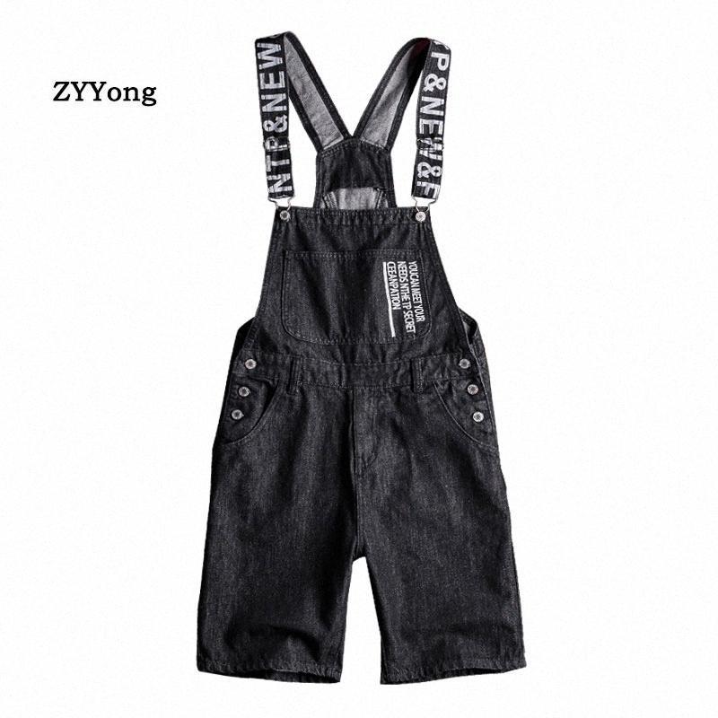 2020 2020 Verano Negro de los guardapolvos de los hombres de impresión cortos Denim Bib mono Beach Jeans Hip Hop Streetwear libre de carga de los mamelucos Juvenil pantalones fjPr #