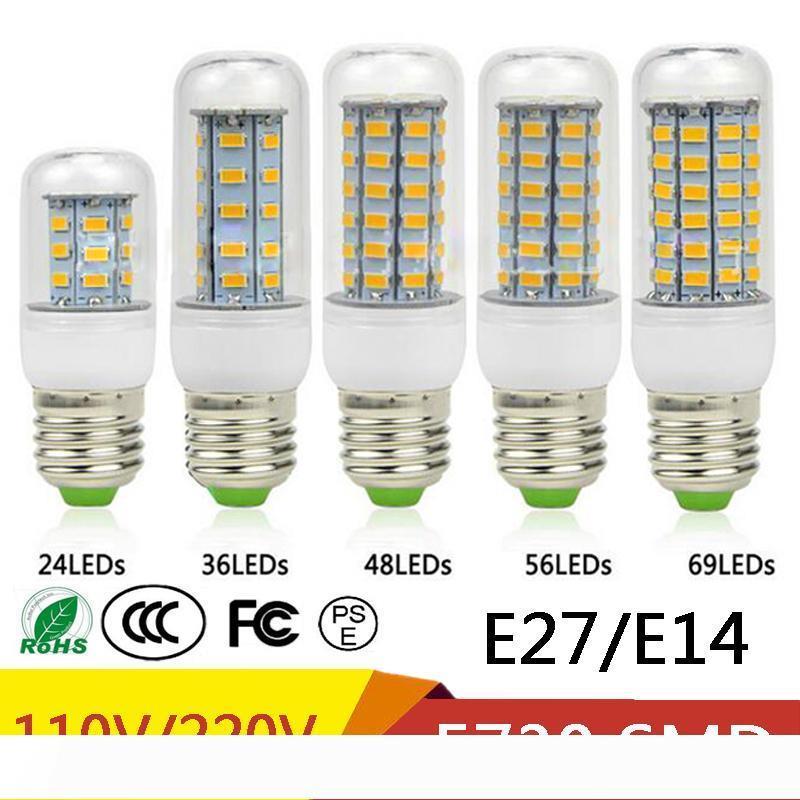 E27 E14 24W SMD5730 LED-Lampe 7W 12W 15W 18W 220V 110V Corn Beleuchtung LED Leuchtmittel Leuchter 36 48 56 69 72 LEDs