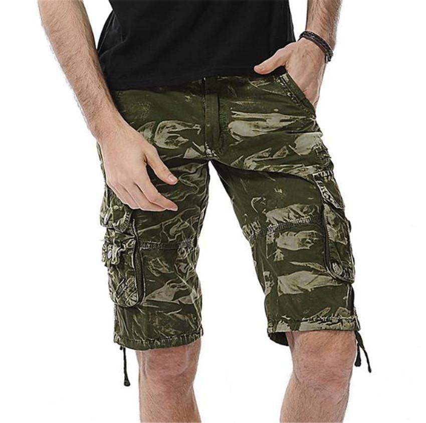 Designer Mens Pantaloncini Camouflage allentato Metà della vita degli uomini pantaloncini estivi ginocchio lunghezza Homme brevi pantaloni con tasche