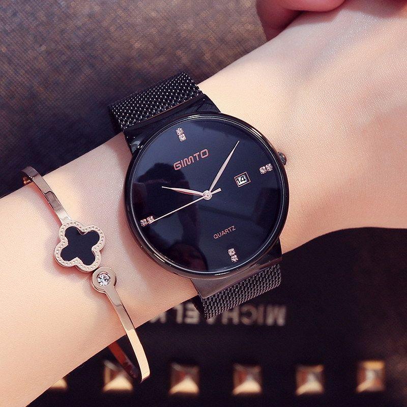 Роскошные GIMTO Мода Женские часы розовое золото женщин Часы Элегантный минимализм Rhinestone вскользь черный Женский водонепроницаемый часы