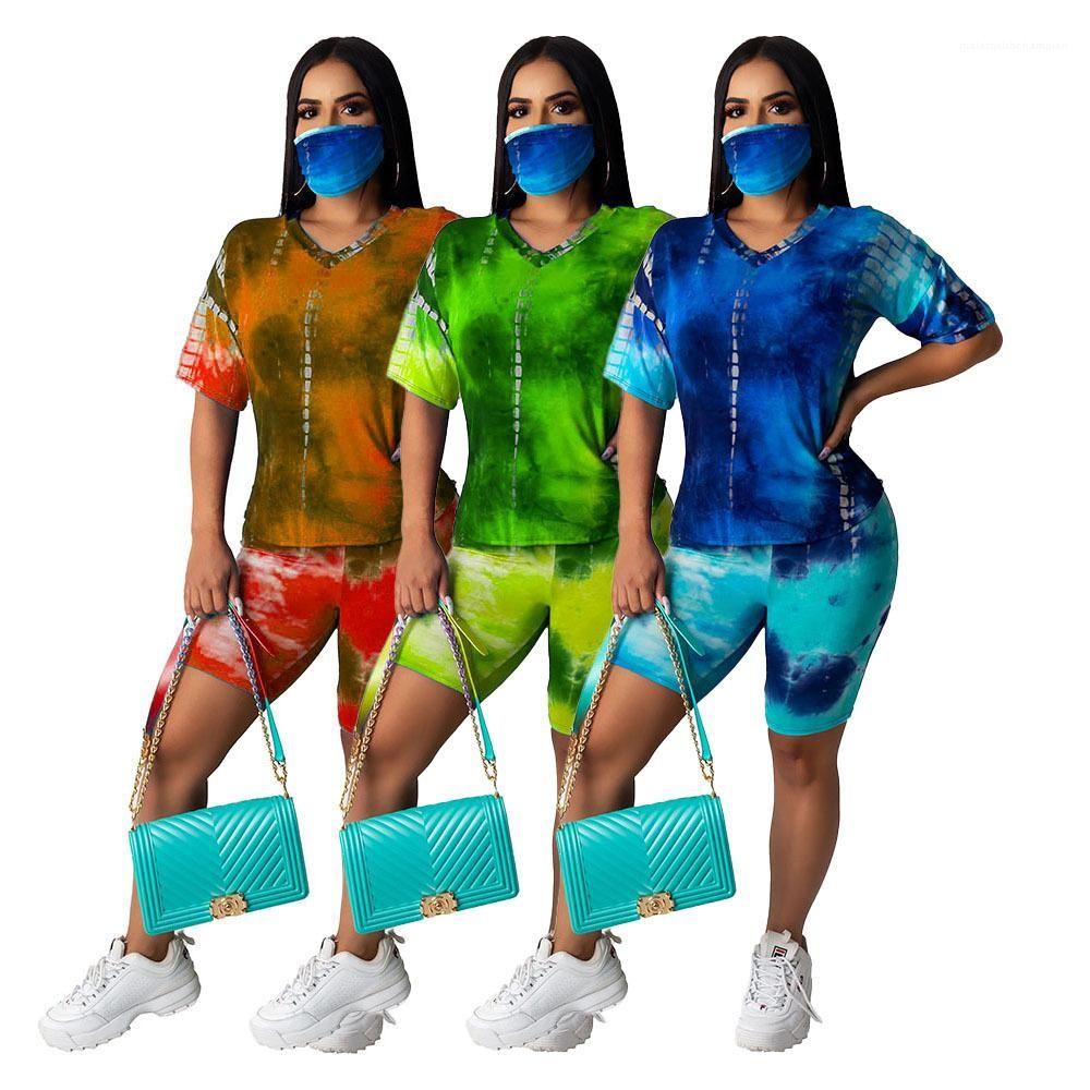 Kıyafet Tasarımcısı Yaz Kısa Kollu Şort Kadın eşofman Tie Boyalı Moda Casual Suit Kadın 2 Adet
