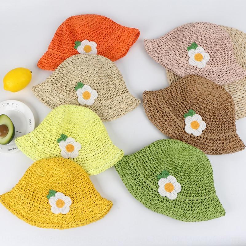 Kinder Daisy Kinder Fischer Sommer Fischer Stroh Hand Haken Strohhut Süßigkeit Farbe Baby Strand Hut des Mädchens