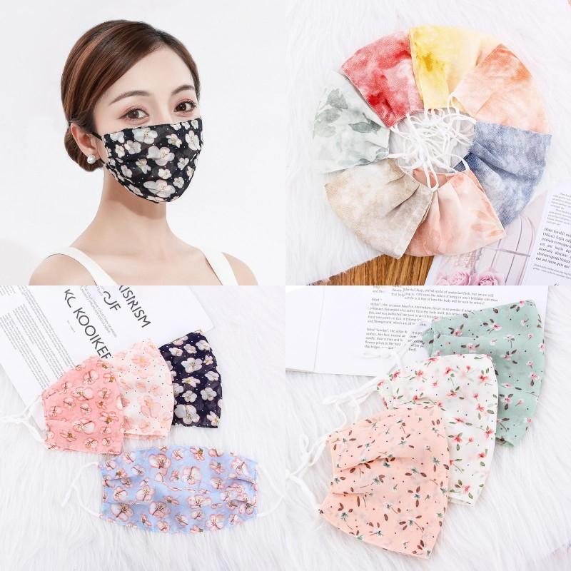 Ladies Ice Silk Sunscreen Máscara Floral face Mouth máscara máscaras fina Primavera-Verão Respirável máscara da face da mulher lavável