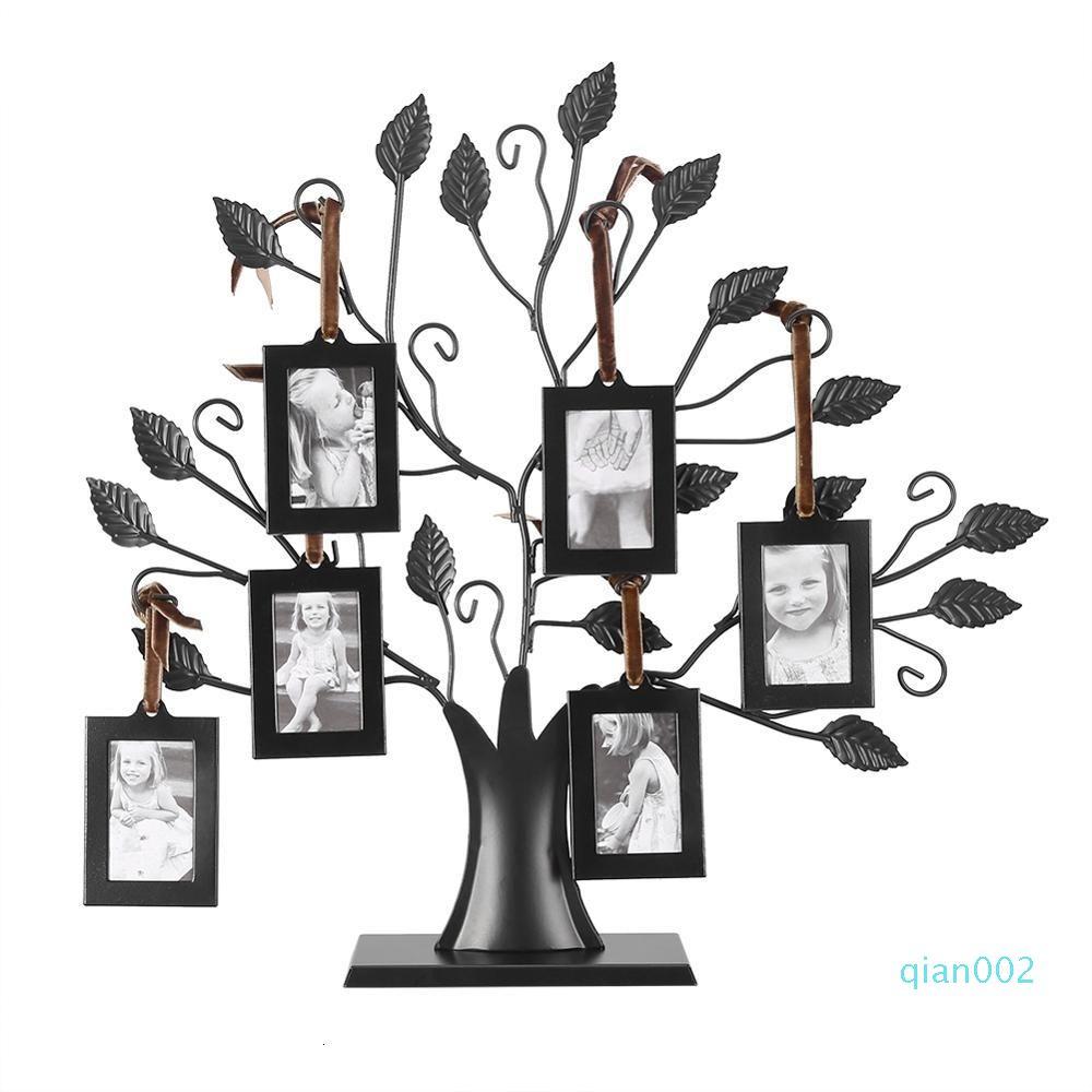 Modo Moder rectángulo Famille Fotos Cadre Affichage Arbre colgantes Fotos Los cuadros del dormitorio del hogar Living Room Decor árbol de la foto del marco SH190918