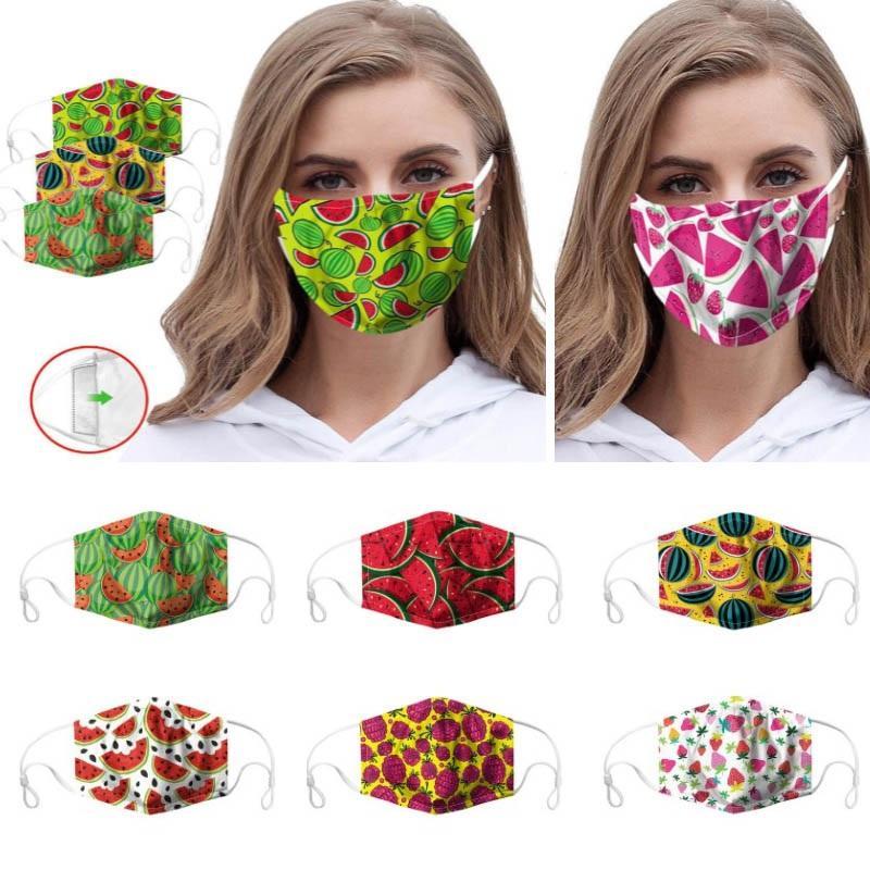 3D Fruit antipoussière Impression numérique Masque Visage Pastèque cerise ananas Respirant Population Mouch Cover peut mettre filtre PM2,5 WX20-26