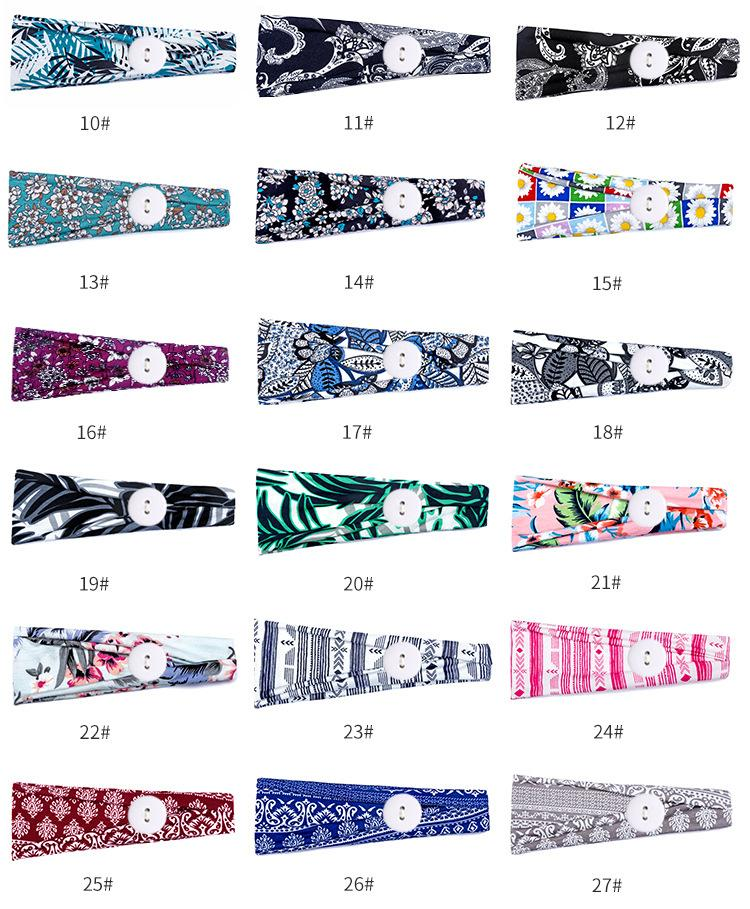 Women Flower print Elastic Headbands with Mask button Adults Sports Yoga Exercise Soft Button Anti Ear Hair Band for Girls Accessories