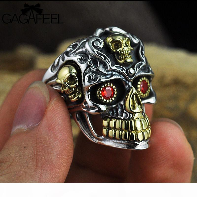 GAGAFEEL Vintage Cool Open Jewelry Skull Rings 100% Real 925 Sterling Silver Thai Rings for Men Women Fashion Charms Drop Ship D19011502