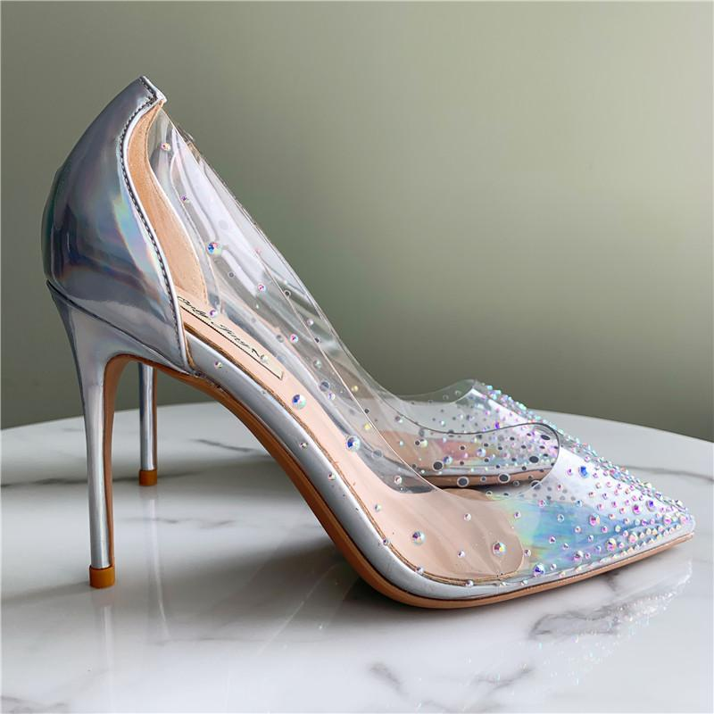 Kadınlar için gerçek fotoğraf Moda Kadınlar gümüş rugan kristalin strass Nokta ayak Seksi ince Yüksek Topuklar Ayakkabı 10cm 8 cm stilettolar yüksek topuklu