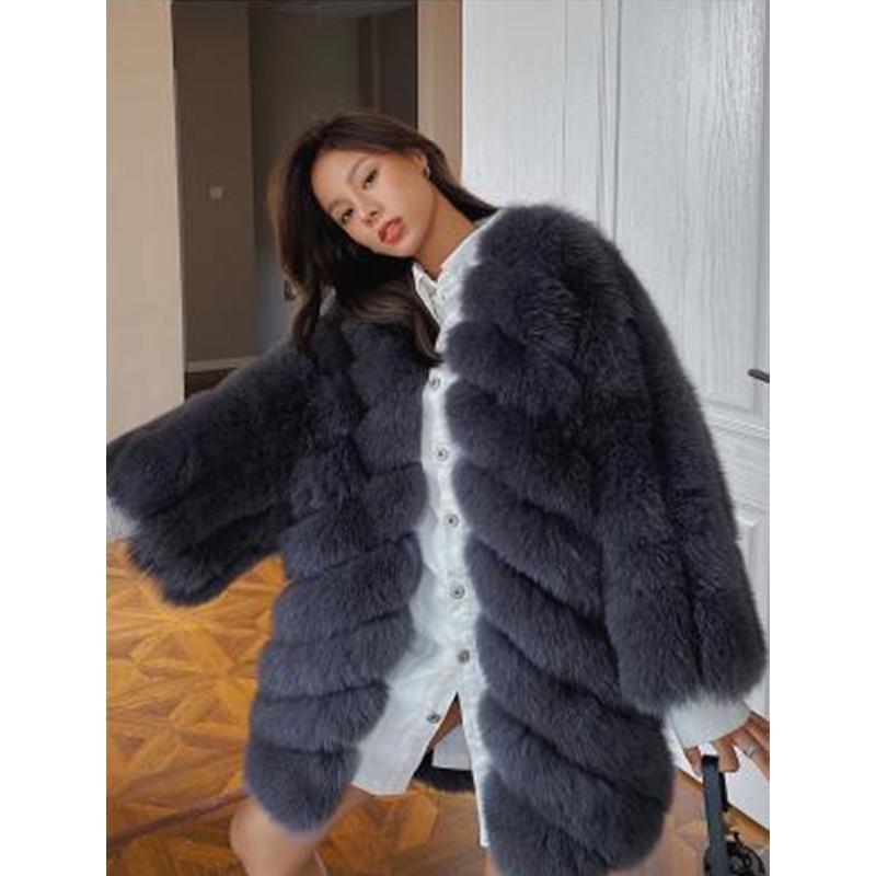Veste femme luxe d'hiver de chaud Fluffy en fausse fourrure manteau de short Parka Outwear parka d'hiver Pardessus Fourrures Manteau S003
