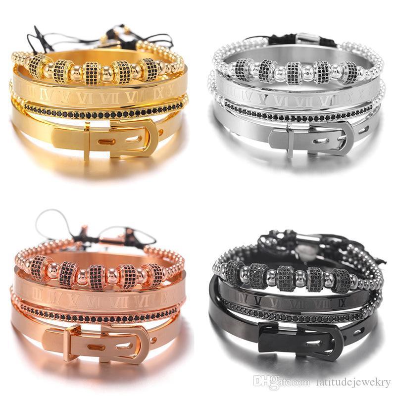 CALIENTE de diseño de lujo para hombre pulseras brazalete de joyería de hip hop con el balón de la corona retro pouplar viejos punk de la moda pulseras de perlas