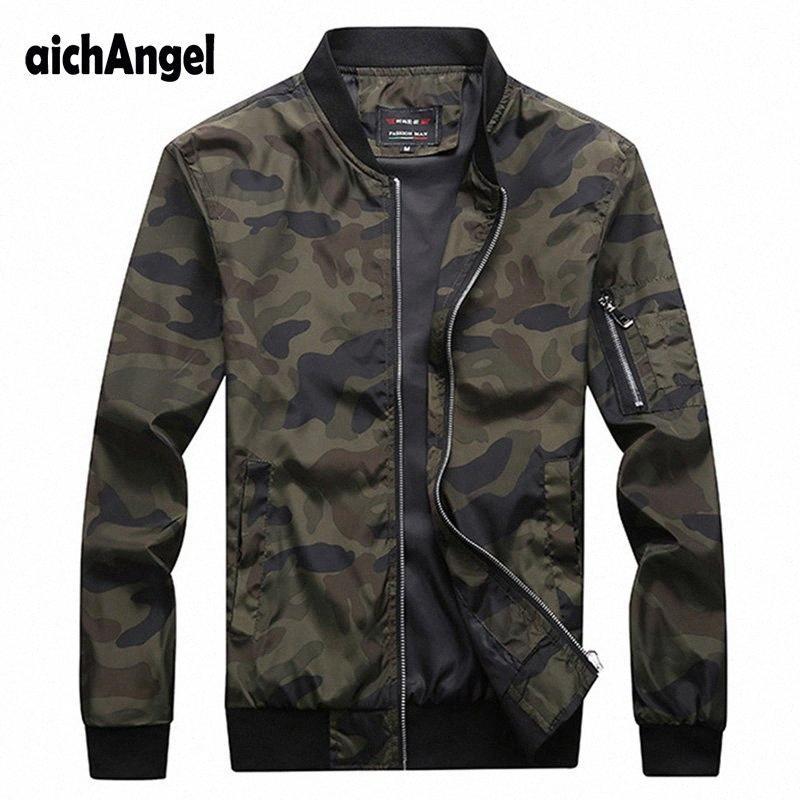 Новая осень Мужские куртки Камуфляж Мужской пальто Камо Bomber Jacket Mens Марка Одежда Верхняя одежда Плюс Размер GGmT #