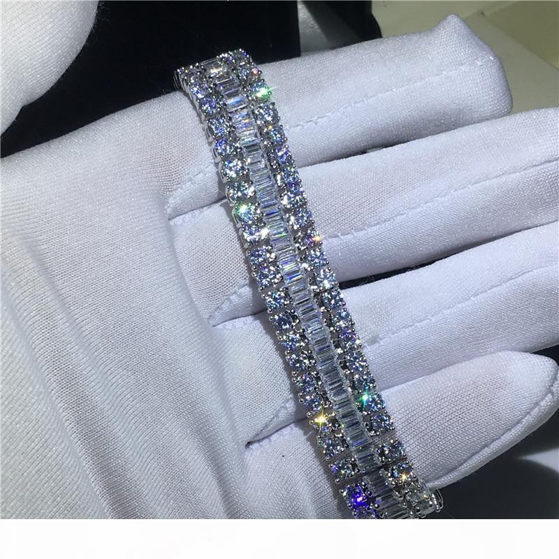 H amanti fatti a mano Bracciale tennis 5a zirconi oro bianco riempito Bracciali fidanzamento partito per le donne di nozze Accessaries