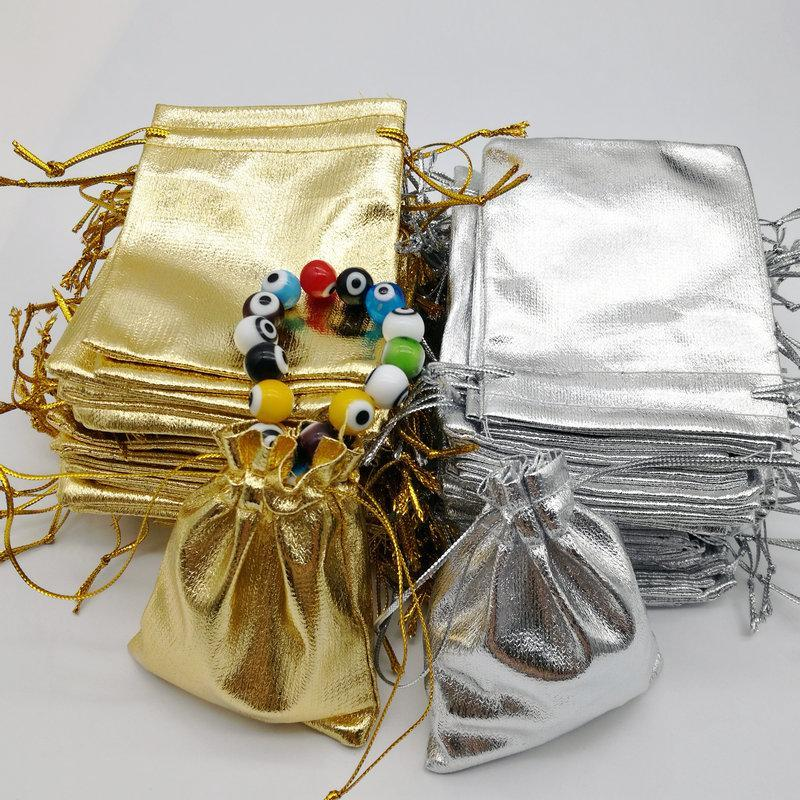 100pcs Altın Gümüş Noel Düğün Hediye Çanta Küpe Kolye Kılıfı SICAK 5 * 7cm siyah Toptan Takı Çanta
