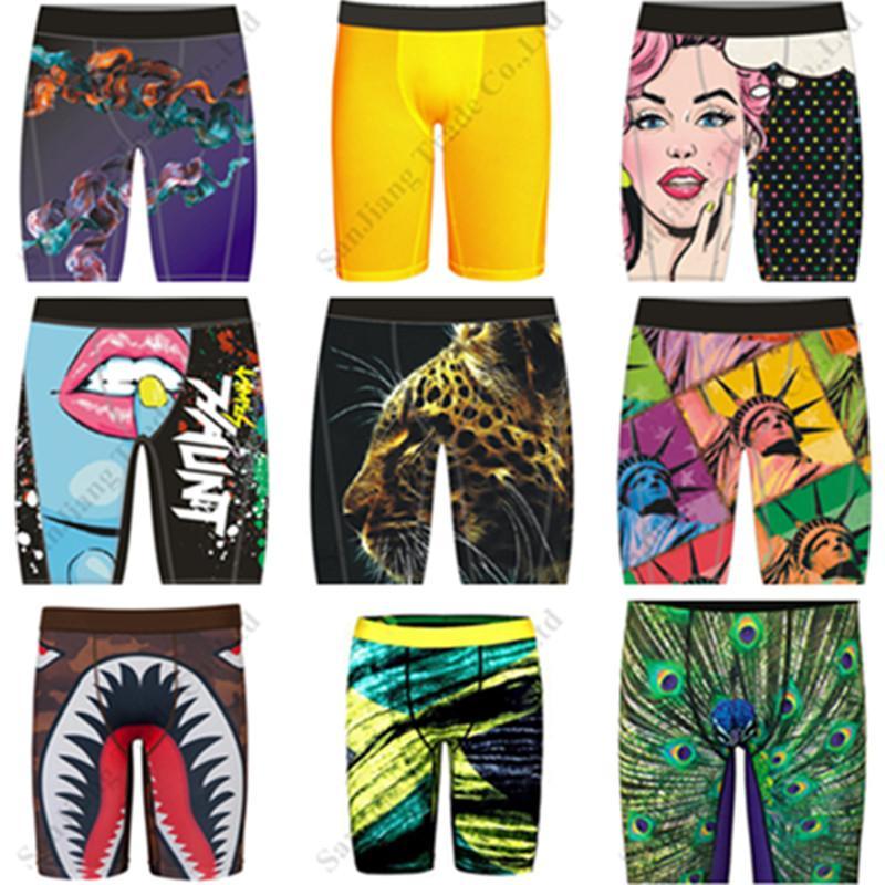 Diseñador hombres de baño natación pareo ropa interior de secado rápido pantalones cortos largo de los calzoncillos de diseño tiburón cara pantalón corto boxeadores Pantalones 2020 C111909