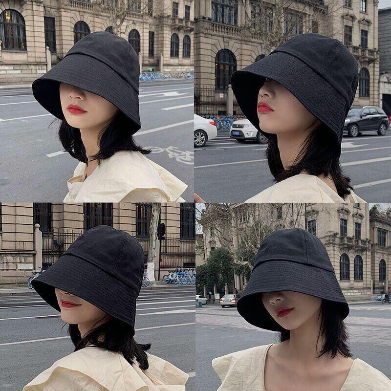 Fisherman Hat Womens Summer Korean-Style Japanese-Style All-match Ins Student Sunshade Sunscreen Niche round Face Bell-Shaped Bucket Cap