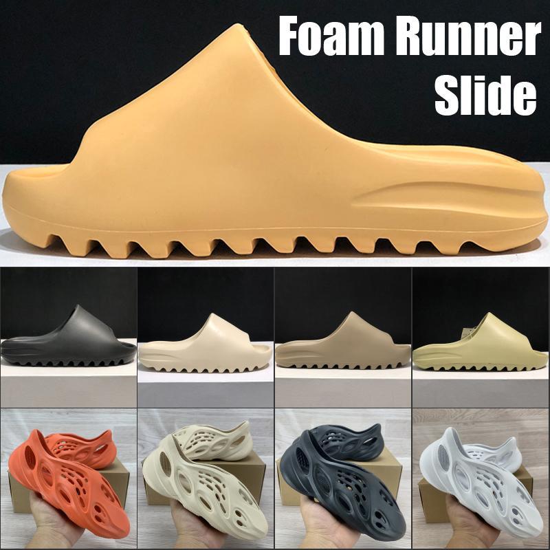 HOT Kanye отверстие обувь пены Runner Лето наличники-Forme моды тапочки сандалии тройной черный Bone белый Платформа Сандал смолы Мужчины Женщины сандалии