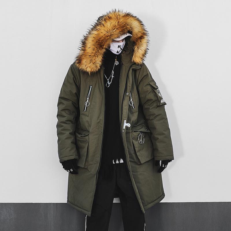 Erkek Trençkot Kış Sıcak Pamuk Giyim Moda Hip Hop Kalın Ceket Büyük Boy Ceket ABD XS-XL