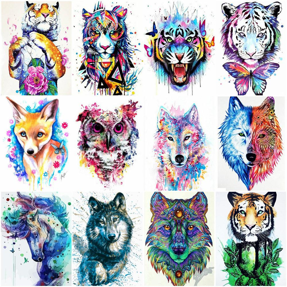 HUACAN Painting By Number Tiger Canvas Painting Animal Acrylic Paint DIY Decoration Coloring By Numbers Unique Gift For Adults
