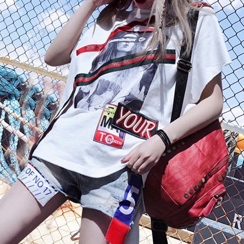 2020 Summer Coat T-shirt top new white short sleeve personalized asymmetric bat sleeve loose T-shirt fashion fashion top