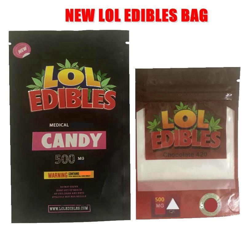 Nuova caramella medicata LOL Editebles 420 confezione Mylar Bag 500mg Hashtag Hashtag Hey Gust Aid Gushers ERRLLI odore borse borse Biscotti Mylar Bags