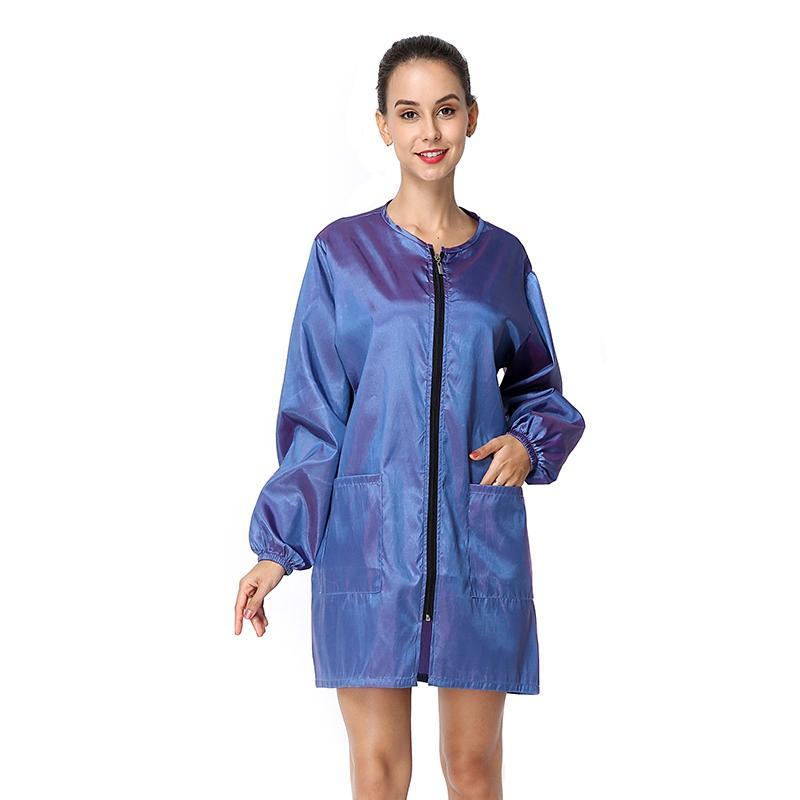 2020 New Women Dress Long Sleeve Short Dress O Neck Wind Jacket Barber Aprons Hairdressing Waterproof Workwear Beauty Spa Apron