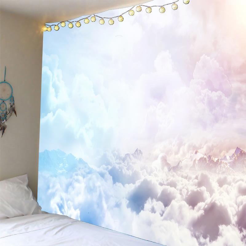 Sky 3D nuvens brancas tapeçaria tapeçaria Colcha dormitório tampa da praia de Fundo Toalha Início da parede da sala de arte múltipla tamanhos Dropship
