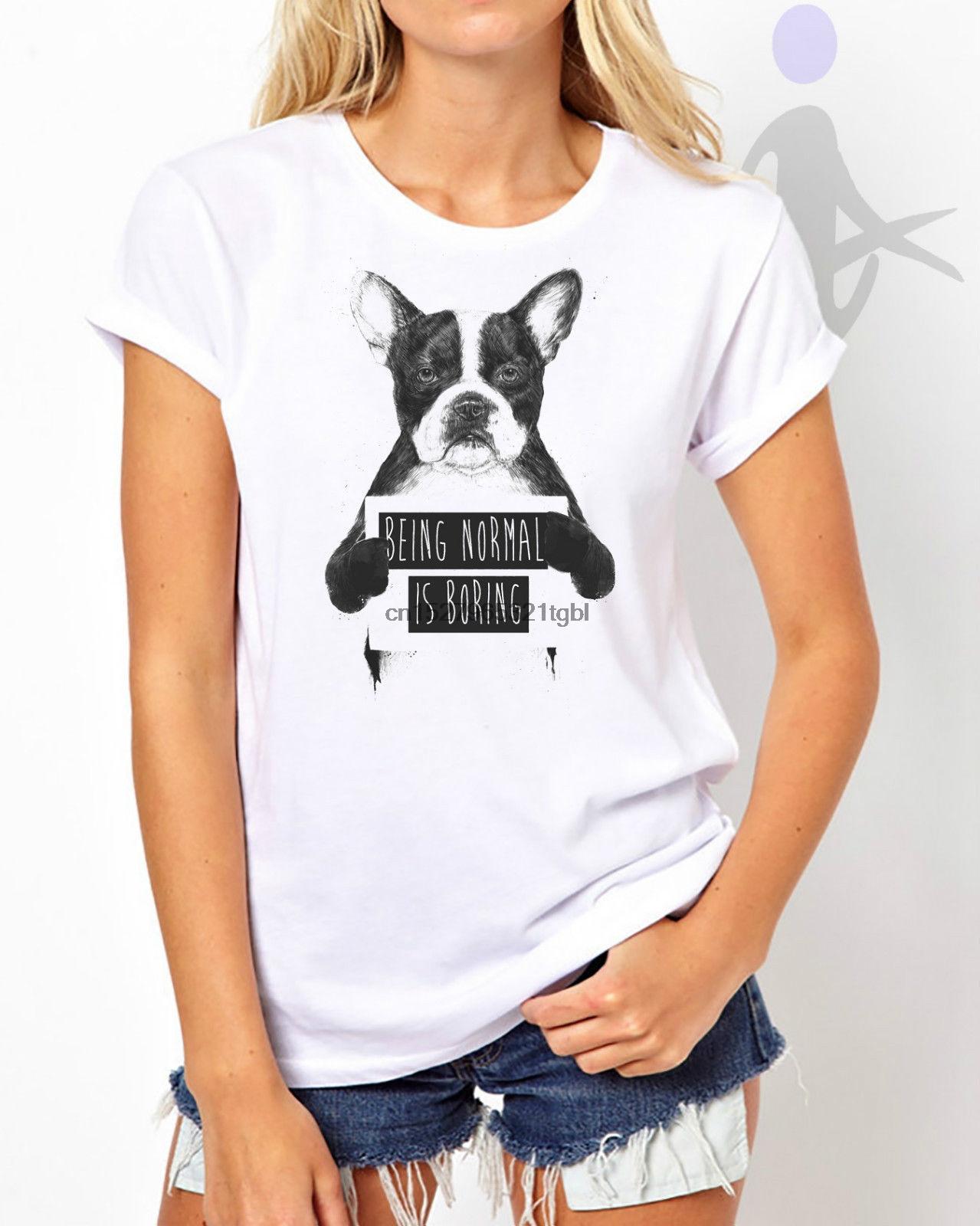 Normal ist Boring Dog Pitbull Humor Lustige Dame-Frauen-T-Shirt Top W23 100% Baumwolle Kurzarm O-Ansatz Oberseiten T Shirts