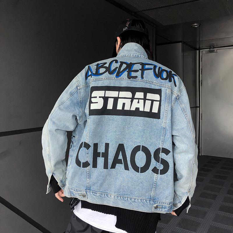 Hip Hop Denim Jacket большой буквы граффити мультфильм печатных моды джинсы вскользь корейский Японии Streetwear вскользь Винтажная куртка Мужчины