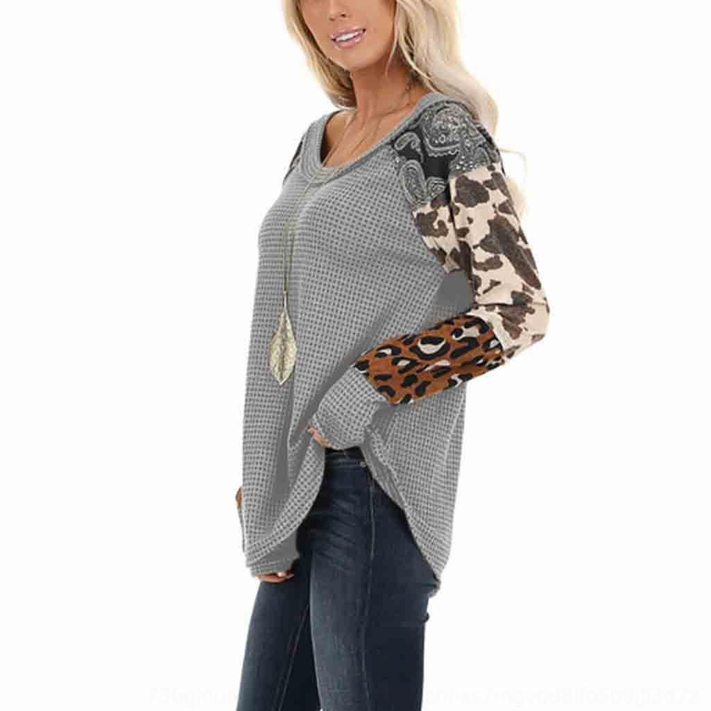 2019 otoño y la galleta redonda Top jersey impreso costura de cuello de invierno jersey de manga larga camiseta para las mujeres superiores SQuTl