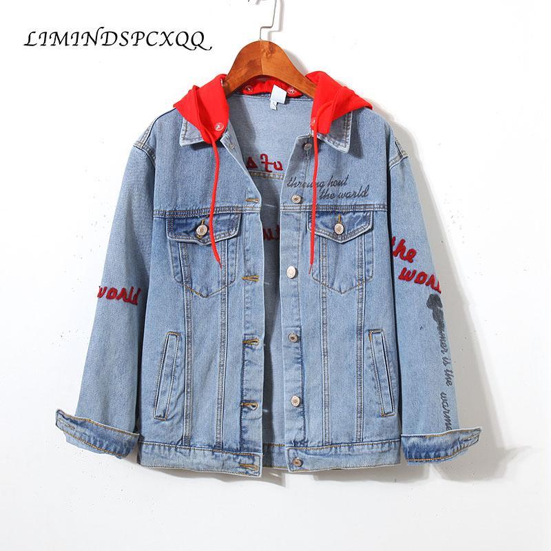 Новые джинсы куртка женщин с капюшоном вскользь Jaqueta Bomber джинсовой куртки Letters вышивки Streetwear Harajuku Женская Верхняя одежда