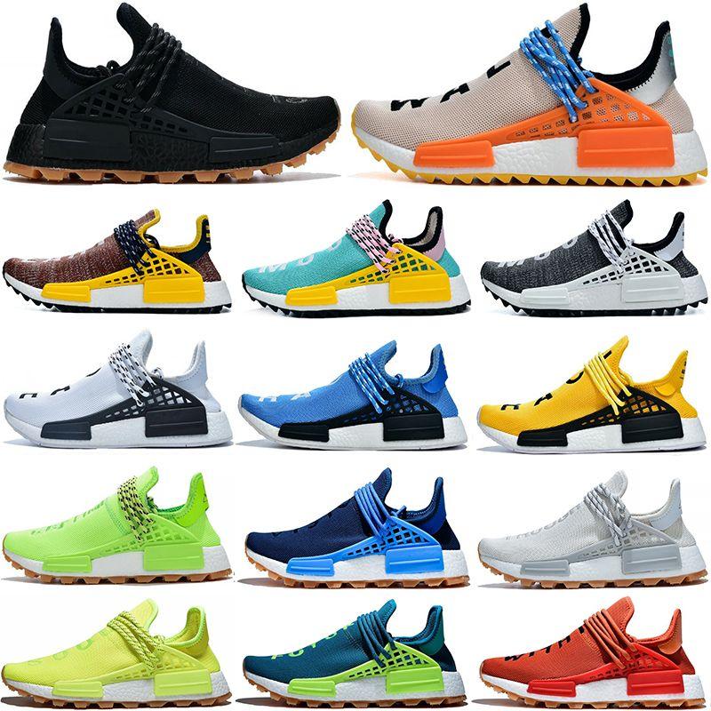 NMD Pharrell Williams Solar Pacote Mãe BBC Mens Womens raça humana Running Shoes pálido Sneakers Nude Nerd Creme estilista Com Box