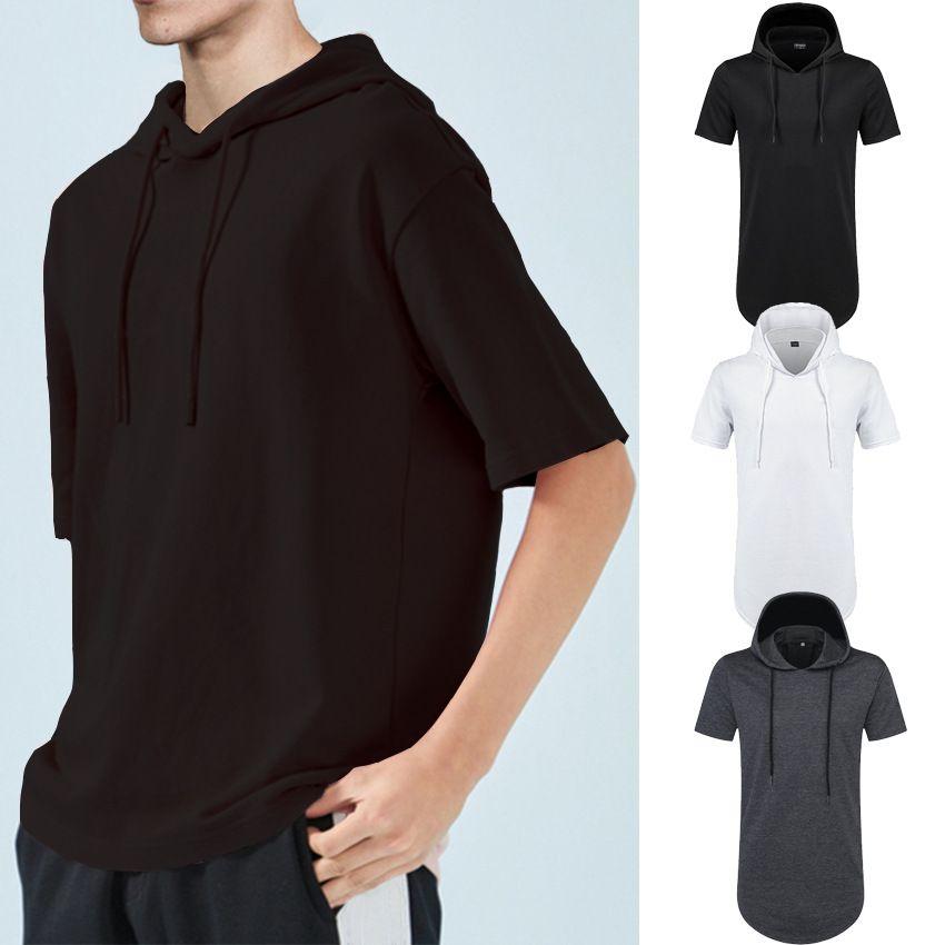 2020 популярных европейские и американская мода мужского летом с коротким рукавом с капюшоном свитер нижней дугой случайного сплошного цвета сверху