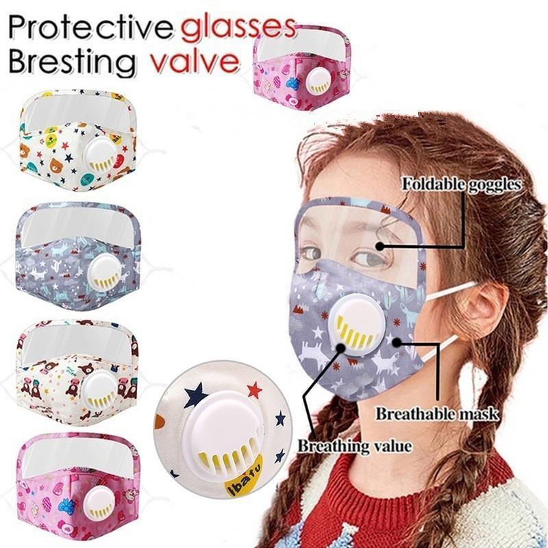 2 in 1 Children face mask Cloth eye shield breath valve and PM2.5 filters mask washable reusable kids cotton masks protective designer masks