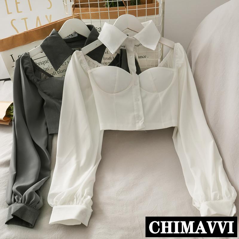 de Nova Collar Halter Off-Ombro Shirt Cropped Top Mulheres Sexy blusa curta Sólidos Camisa De Mangas Longas da senhora Cor