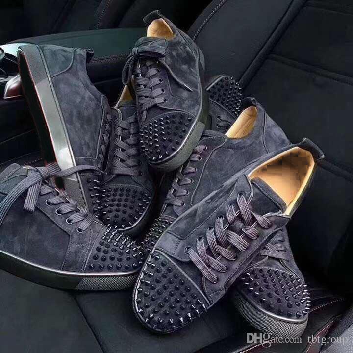 bottom NOVO Red Spikes Plano Veau Velours Designer Sneakers homens formadores de 100% couro genuíno Cut Homens Mulheres partido Low sapatos de casamento sapatos