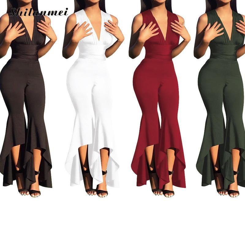 2020 Hohe Taille Lange sexy Overall Club Wear Fashion Ärmel V-Ausschnitt Frauenspielanzug Overalls Jahrgang Spielanzug combinaison femme