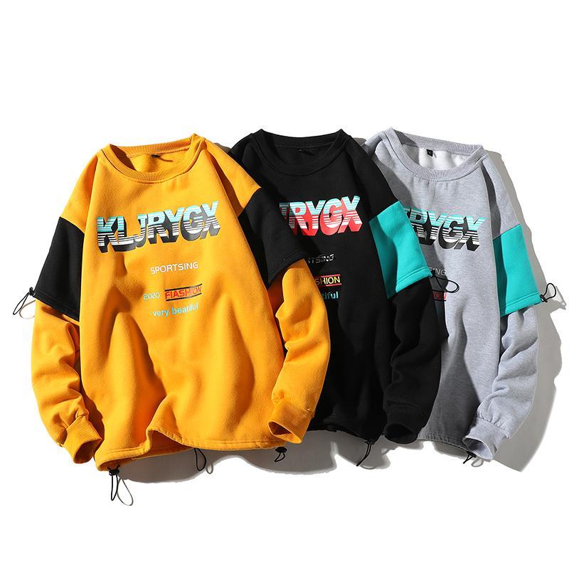 Hommes Hoodies Automne Hiver Nouveau Hip Hop Pull Casual plus velours avec capuche Sweat à capuche Streetwear Homme