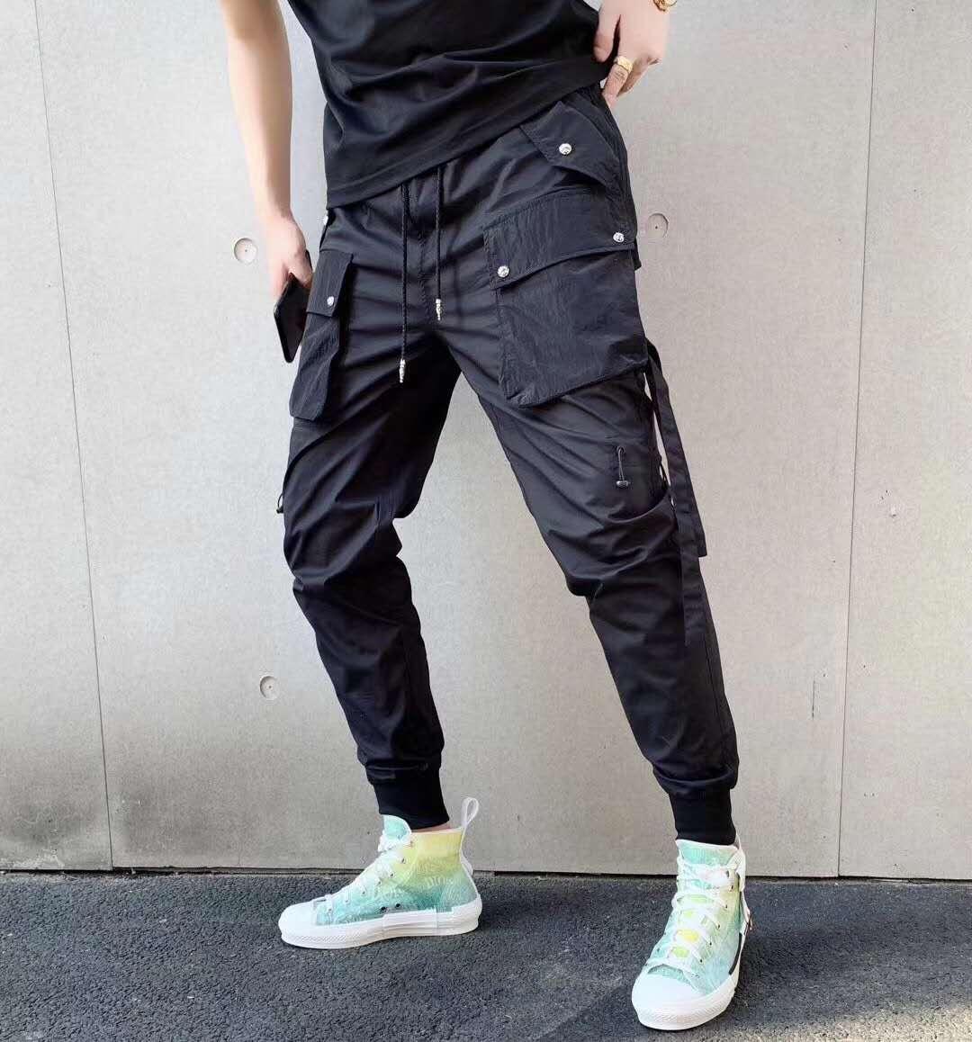 pantaloni cargo nuovo modo Tooling pantaloni lunghi harem delle donne degli uomini hip-hop pantaloni sportivi solido del progettista nero multi-tasca dei pantaloni casuali