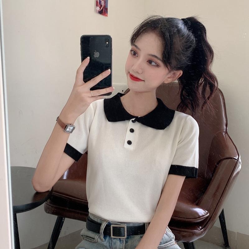 2020 neue Sommer-Kontrast-Polokragen kurzer Student T-Shirt oben für Top-Strickjacke T-Shirt Pullover Frauen