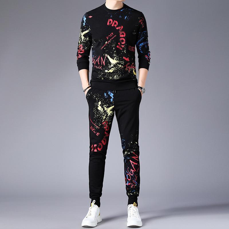 2020 Automne Hiver Nouveau Mode Survêtements Hommes Imprimer Casual Sportwear deux COMBI pantalon à capuchon + Survêtements Sweat-shirt pour hommes Ensemble