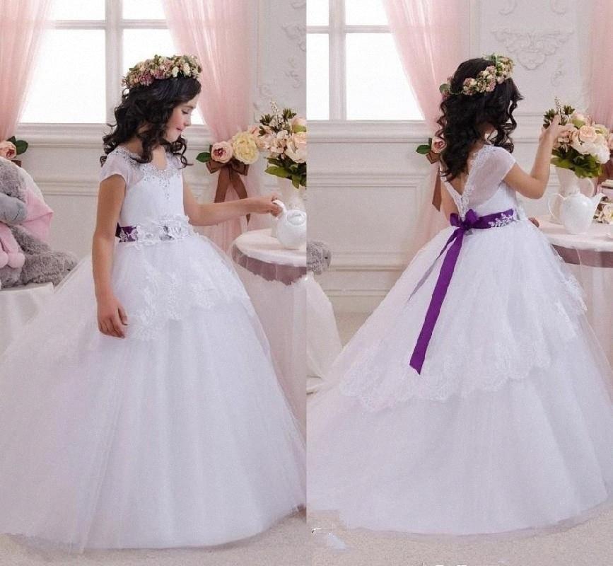 Elegante Bianco Abiti da sposa per wedding con il viola Sash Lace Appliques abito del partito per le ragazze vestidos de comunione 0ZJK #