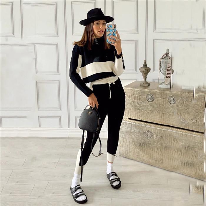 زيبر الوقوف الياقة المرأة رياضية الخريف كم طويل هوديس القمم سليم سروال Capris المرقعة النسائية 2 قطعة مجموعات الزي