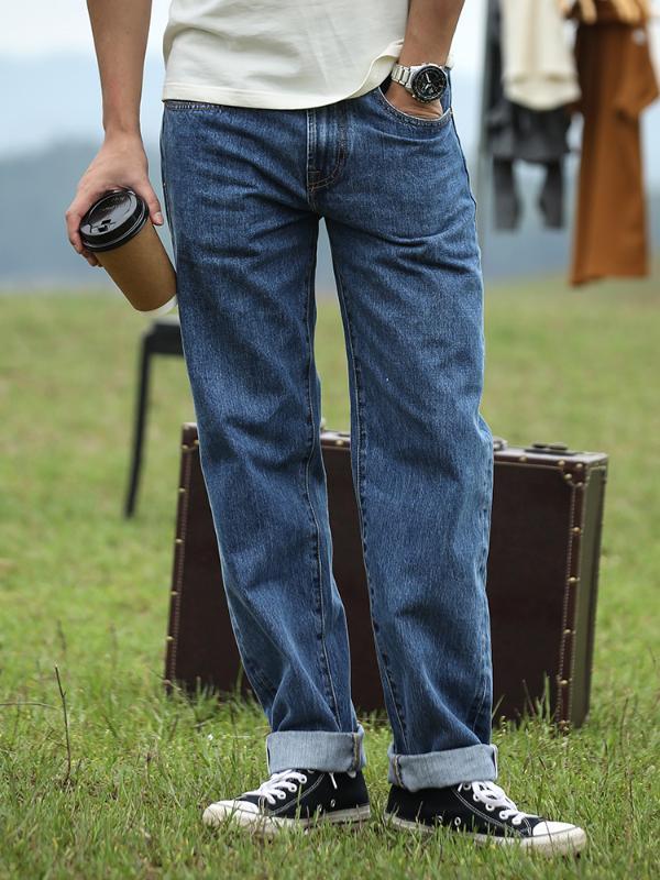Leggings Jeans d'homme en vrac jambe large Casual Washed Red Ear Denim Jeans Micro Leggings de haute qualité
