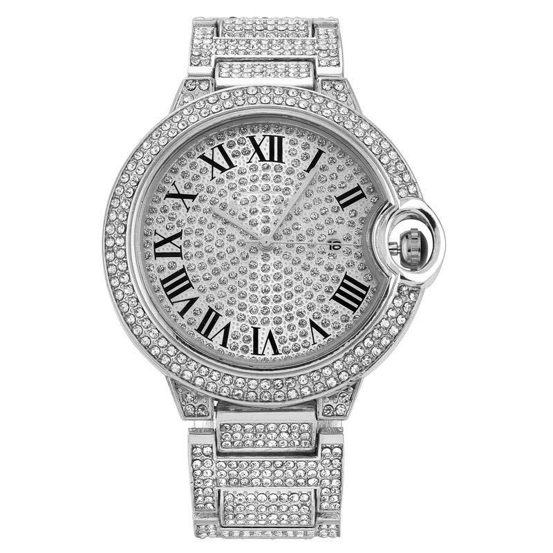 الجملة أزياء الرجال والنساء ووتش زوجين التسلق الماس الكامل يثلج خارجا مصمم الساعات الفولاذ المقاوم للصدأ حركة كوارتز سيدة هدية الساعات